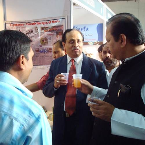 Ex Minister Subodh kant sahay Enjoying the Vedantika Energy drink