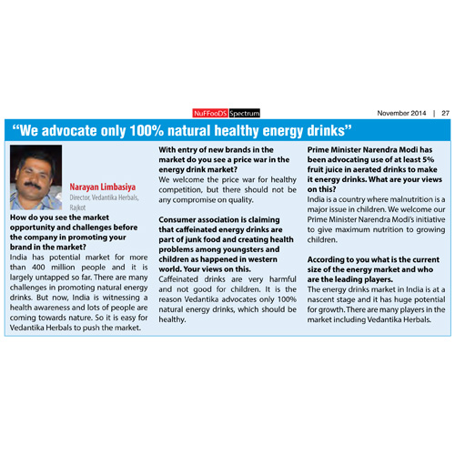 Energy drinks market survey- interview of Mr Limbasiya in newfood spectrum