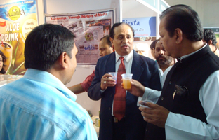 Sri Subodh Kant Sahay (Ex Minister) Enjoying the Vedantika Energy Drinks