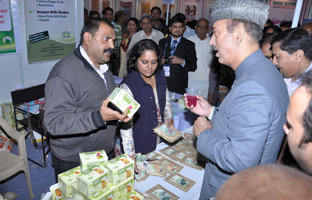 Health Minister Mr. Gulab Navi Azad appericiating Herbal Mocktails. (Panchamrita Drink).