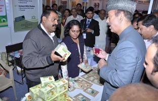 Health Minister Mr. Gulab Navi Azad appericiating Herbal Mocktails. (Panchamrita Drink).
